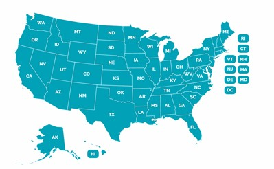 US Map - click to go to State Laws page